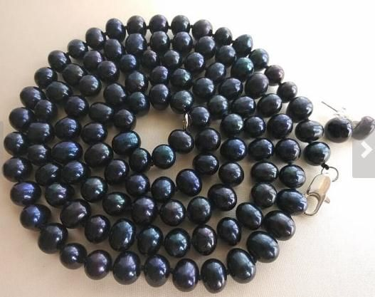 >> Click to Buy << Pearl Jewelry Set 32inches 7-8mm Black Freshwater Pearl Necklace Earrings Free Shipping #Affiliate