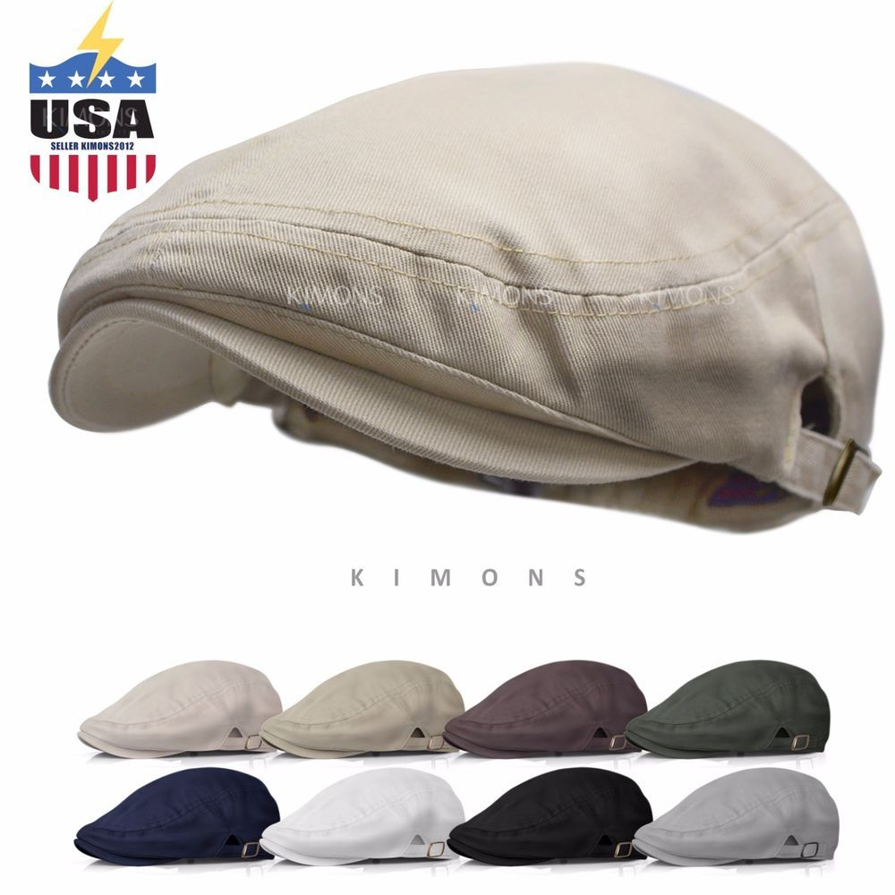 Buckle Cotton Gatsby Cap Mens Ivy Hat Golf Driving Summer Sun Flat Newsboy   Kimons   9a49080790bf