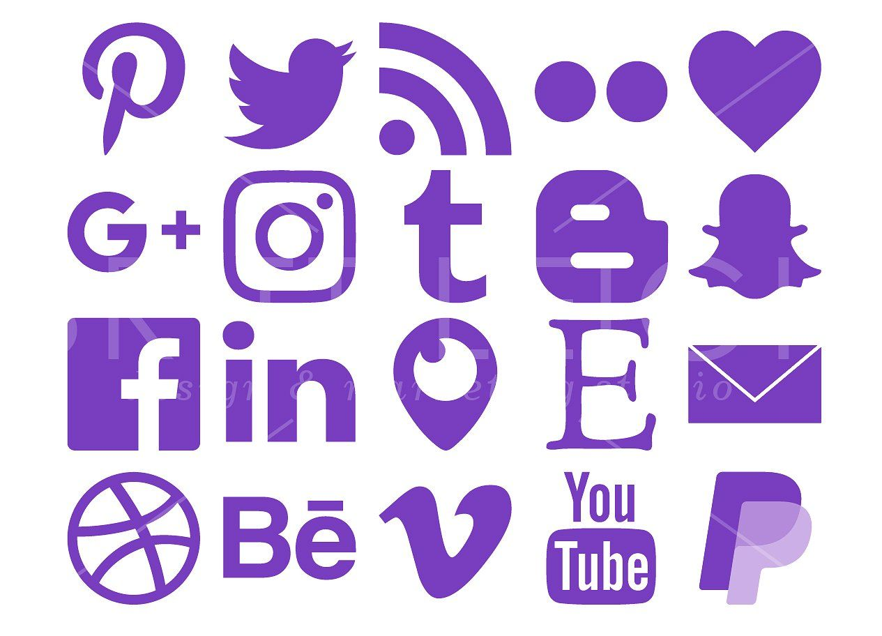Purple Social Media Icons Pack Social Media Icons Media Icon Icon Pack