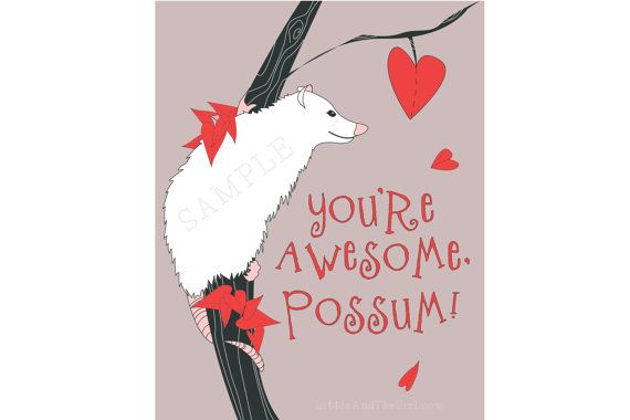 Valentine  Awesome Possum Printable School by LittleAndTheGirl, $6.00