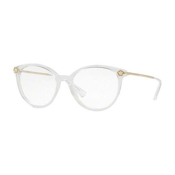7a306be0f Versace VE3251B 148 Eyeglasses ($175) ❤ liked on Polyvore featuring  accessories, eyewear, eyeglasses, clear, clear lens glasses, lens glasses,  ...