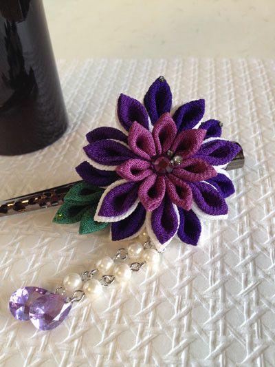 つまみ細工 くちばしクリップ簪 正絹 彩り 紫 手作り ヘア