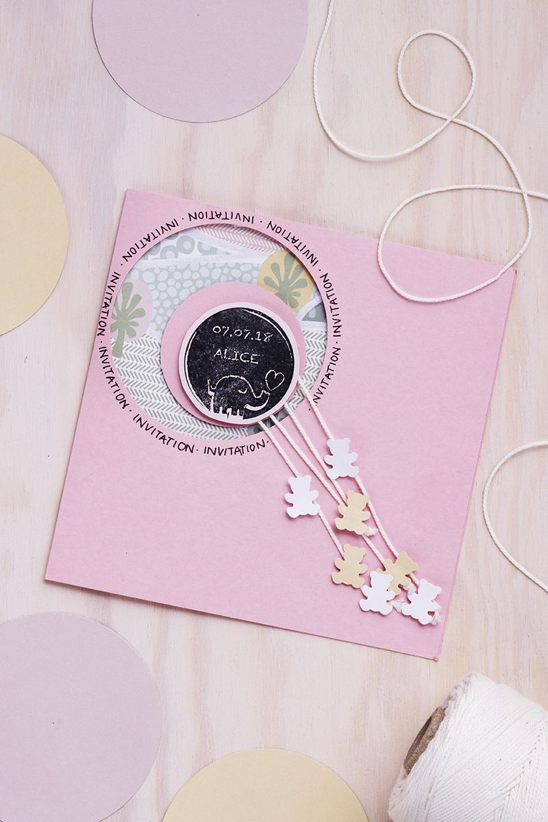 Card DIY baby newborn card pink baby