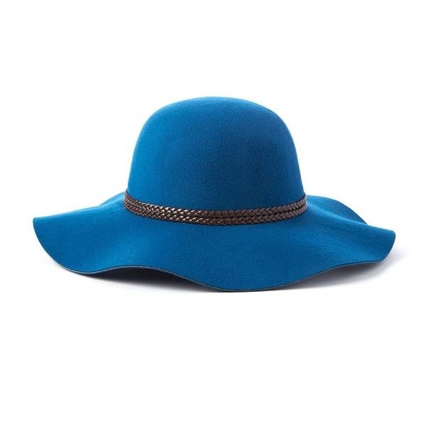 171e5b098a24f7 Scala Braided Trim Ultrafelt Floppy Hat ($28) ❤ liked on Polyvore featuring  accessories, hats, blue, blue floppy hat, blue hat, scala hats, braid hat  and ...