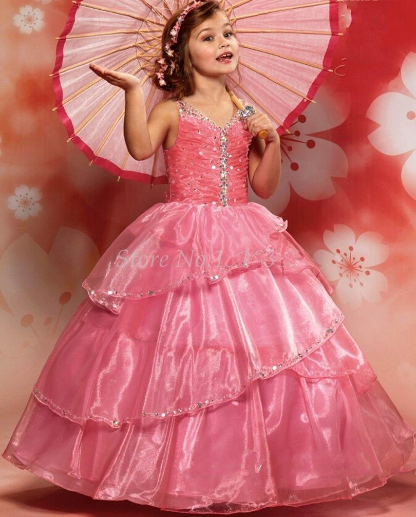 Fuchsia girls pageant dresses ball gown vneck organza tiered