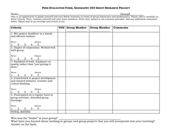 GROUP PROJECT PEER EVALUATION FORM teachign Pinterest Group - self evaluation form