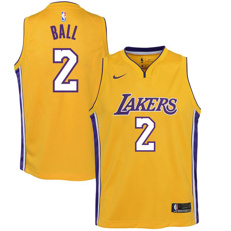 best loved d0ac6 19ff7 Lonzo Ball Los Angeles Lakers Nike Youth Swingman Jersey ...