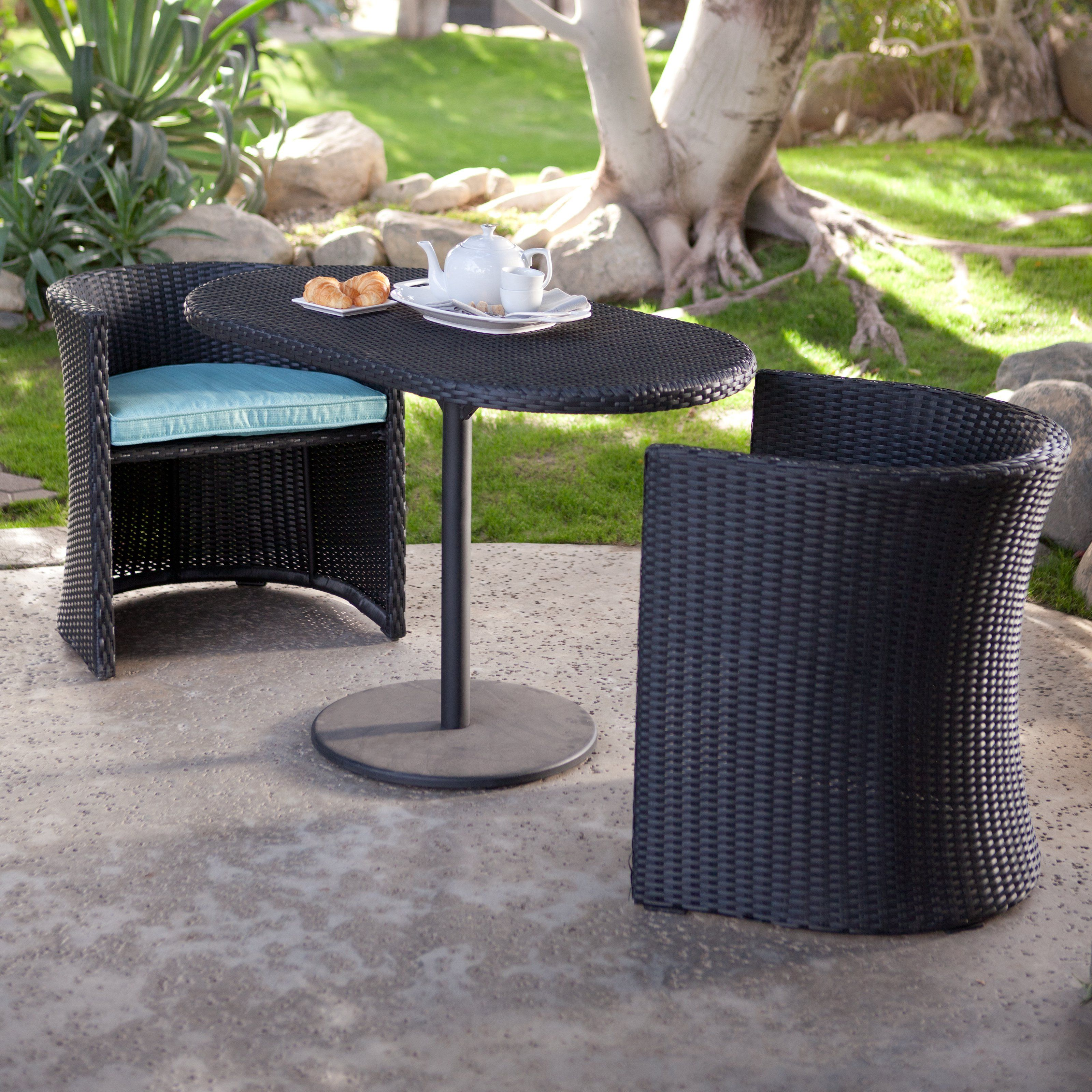 Have to have it. Coral Coast Patan All-Weather Wicker Nesting Bistro Set - $322.01 @hayneedle