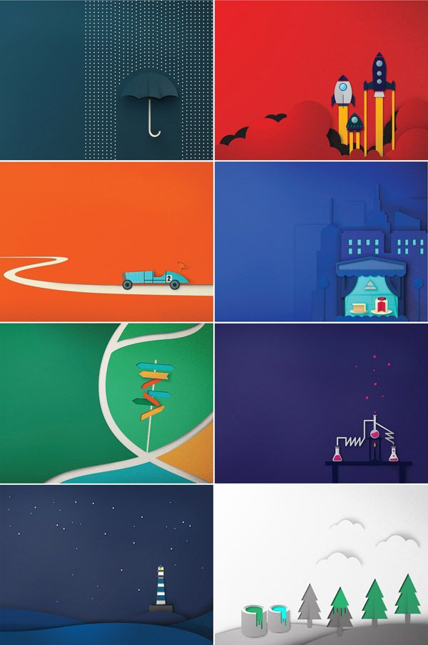 Studio Copo Design Has Created This Series Of Illustrations Inspired By Cut Out Paper For The SEGRA Company Book