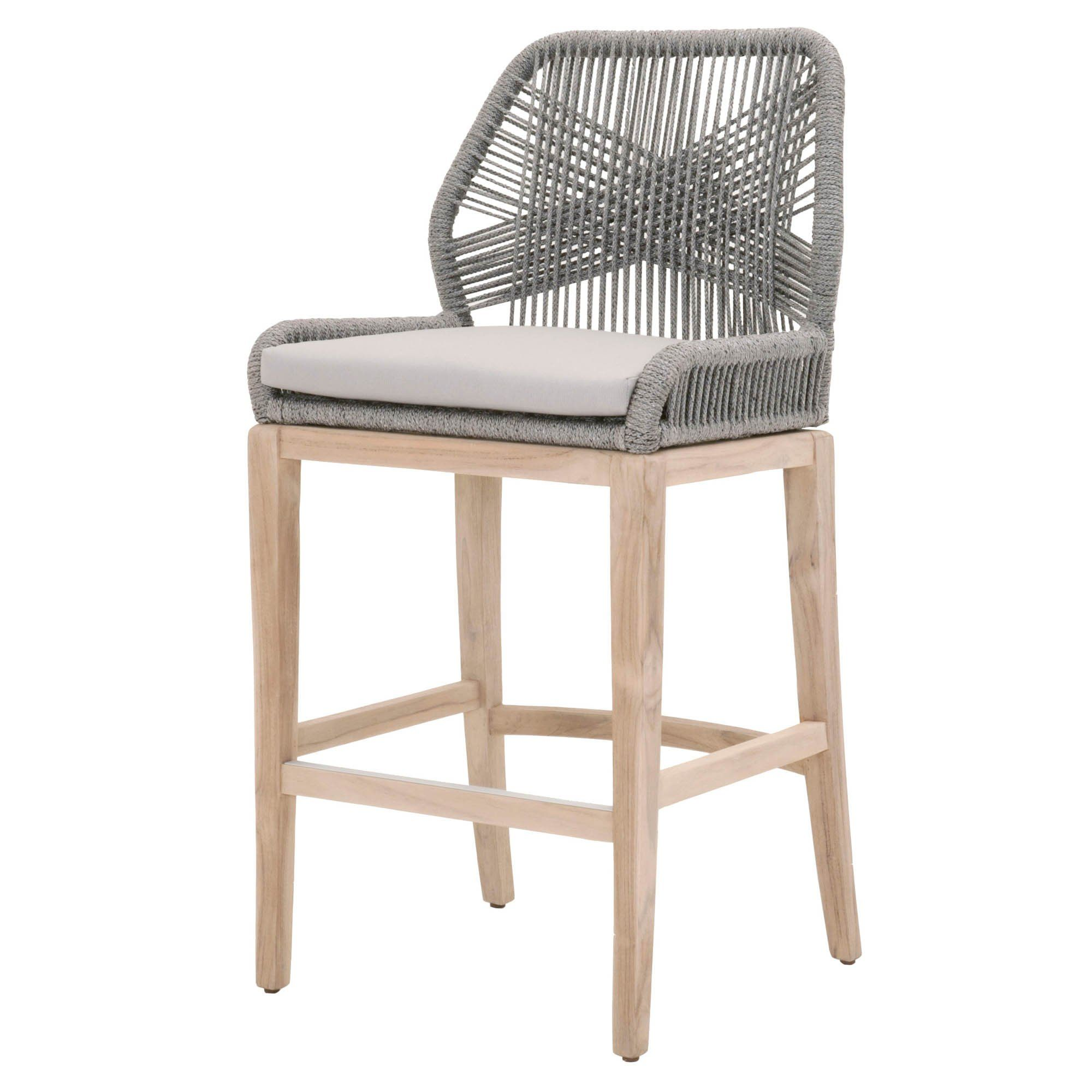 Lomis Smoke Grey Outdoor Rope Barstool Great Look