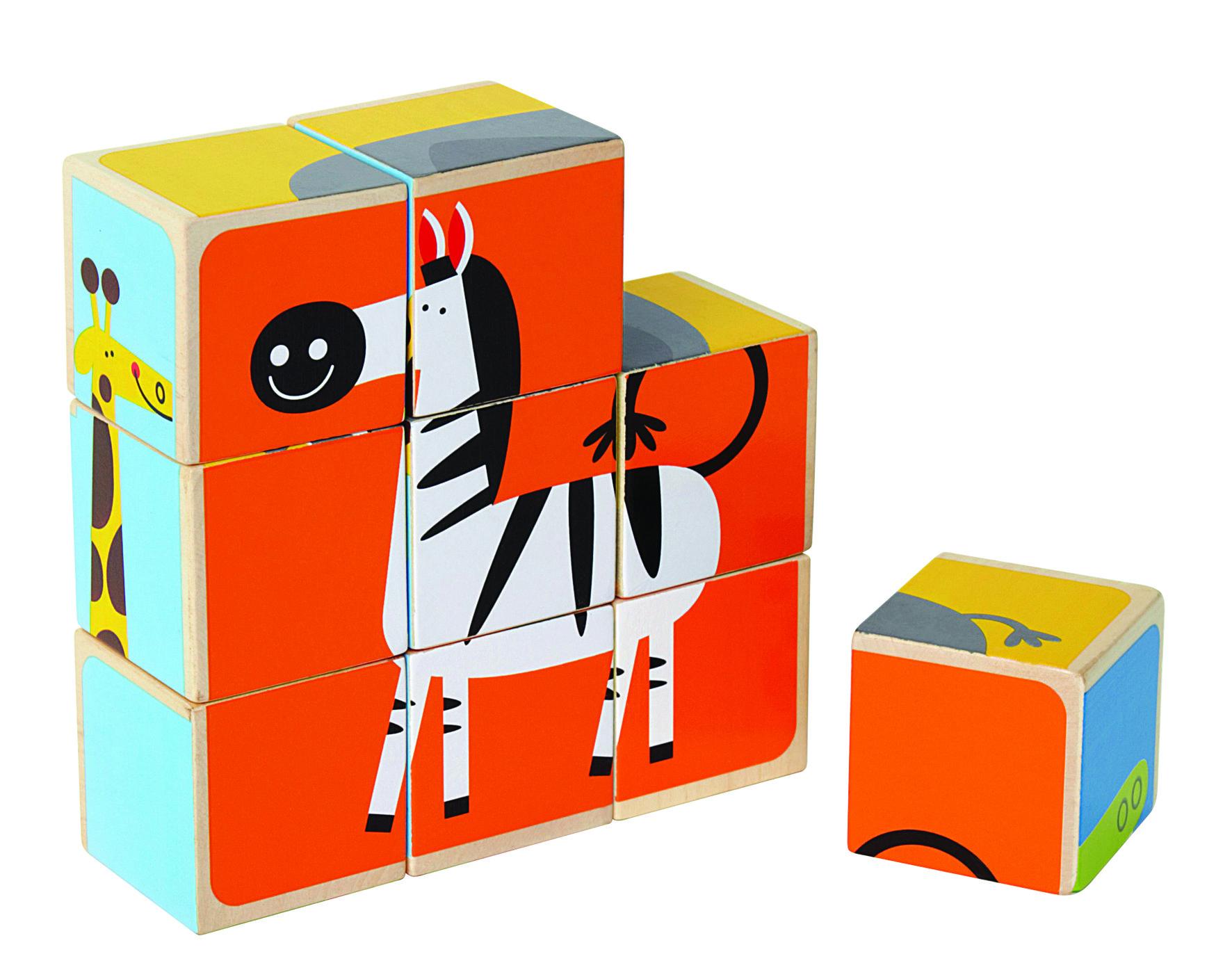 Deze leuke blokkenpuzzel laat kinderen zes bekende dieren in elkaar zetten. Maar het is niet altijd een vierkante vorm van 9 blokken. De giraffepuzzel is hoog, die van de krokodil lang.