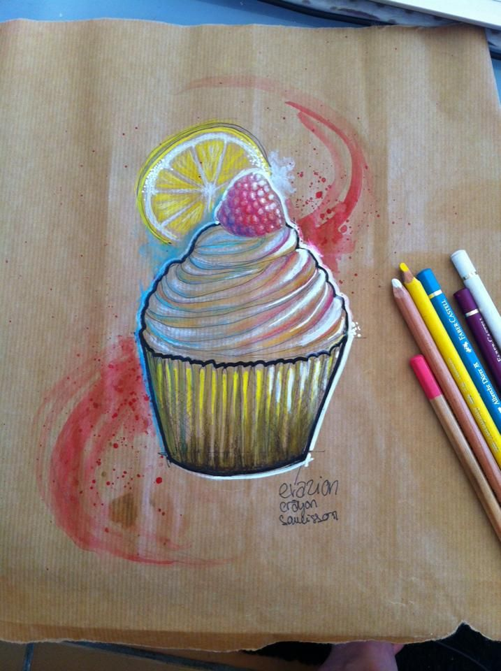 Cupcake Dessin Citron Aquarelle Splash Kraft Patisserie