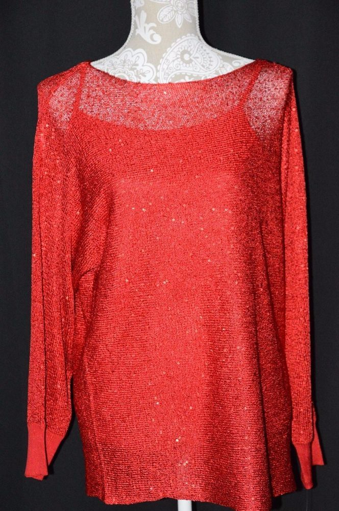 50099a4d05ffc Alfani Womens Medium Red Long Sleeve 2 Piece Ling Sleeve Shirt NEW Sequined  Tank  Alfani  Crewneck
