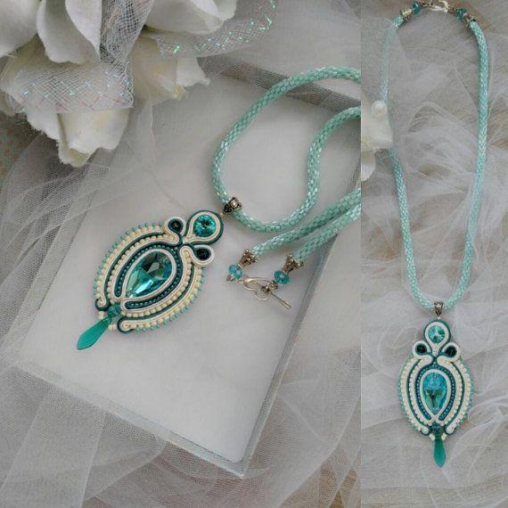 Soutache mint color necklace Soutache pendant Ivory Mint Blue necklace Evening…