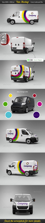 Car sticker design psd - Van Car Mock Up