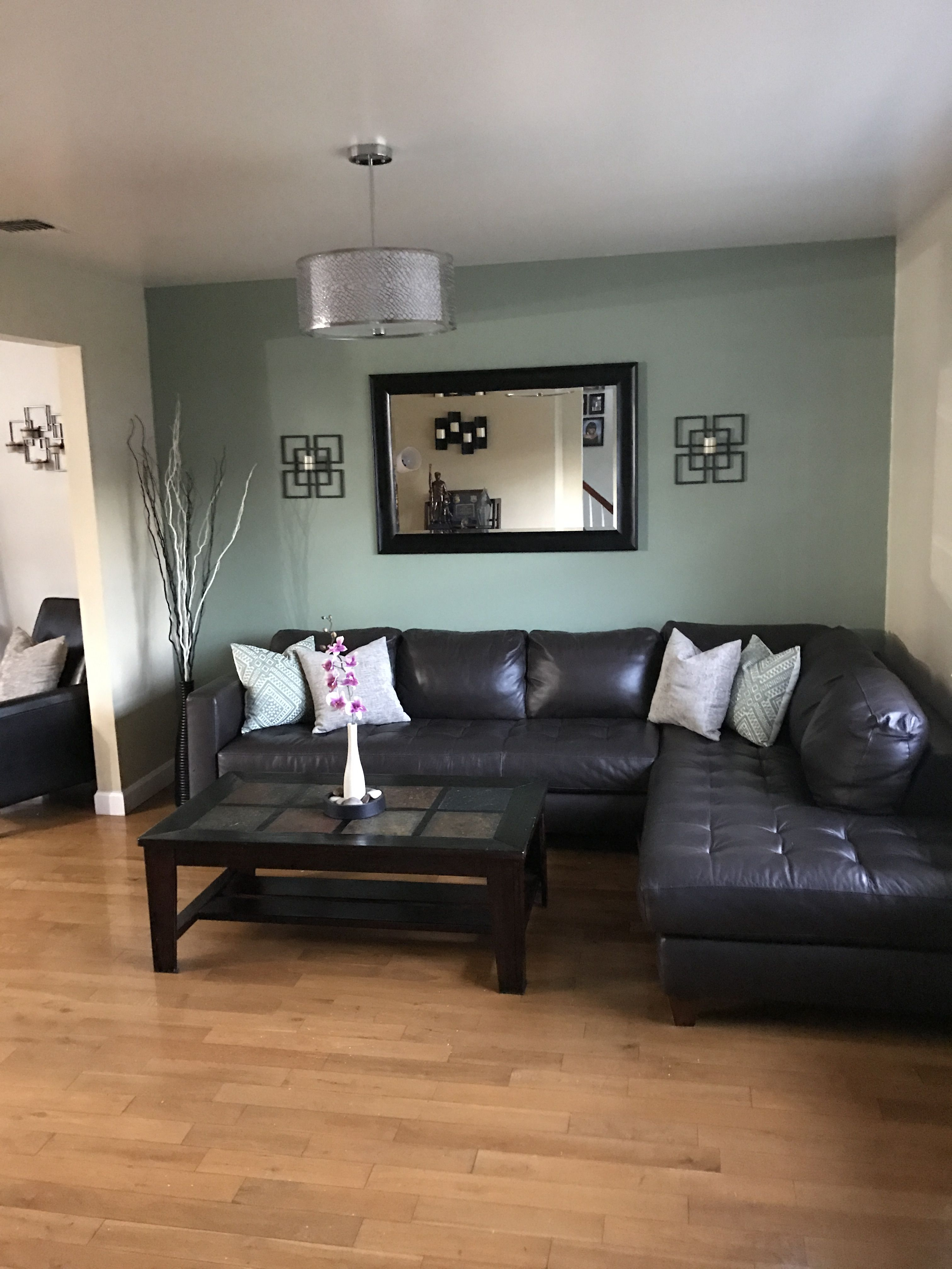 Sage Green Accent Wall In Living Room