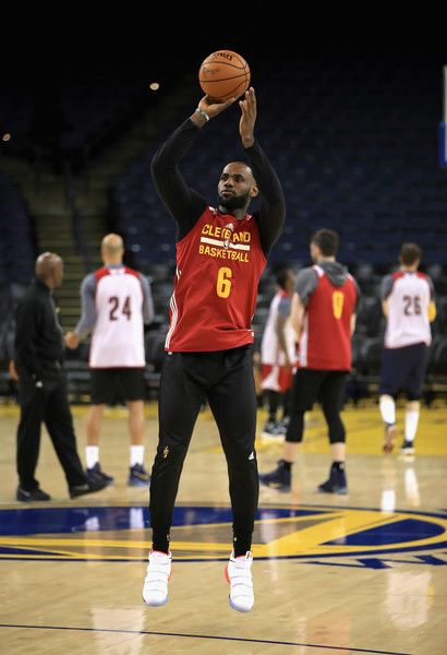 big sale a879c 00811 LeBron James Photos Photos - LeBron James  23 of the Cleveland Cavaliers  works out during a practice for the 2017 NBA Finals at ORACLE Arena on May  31, ...