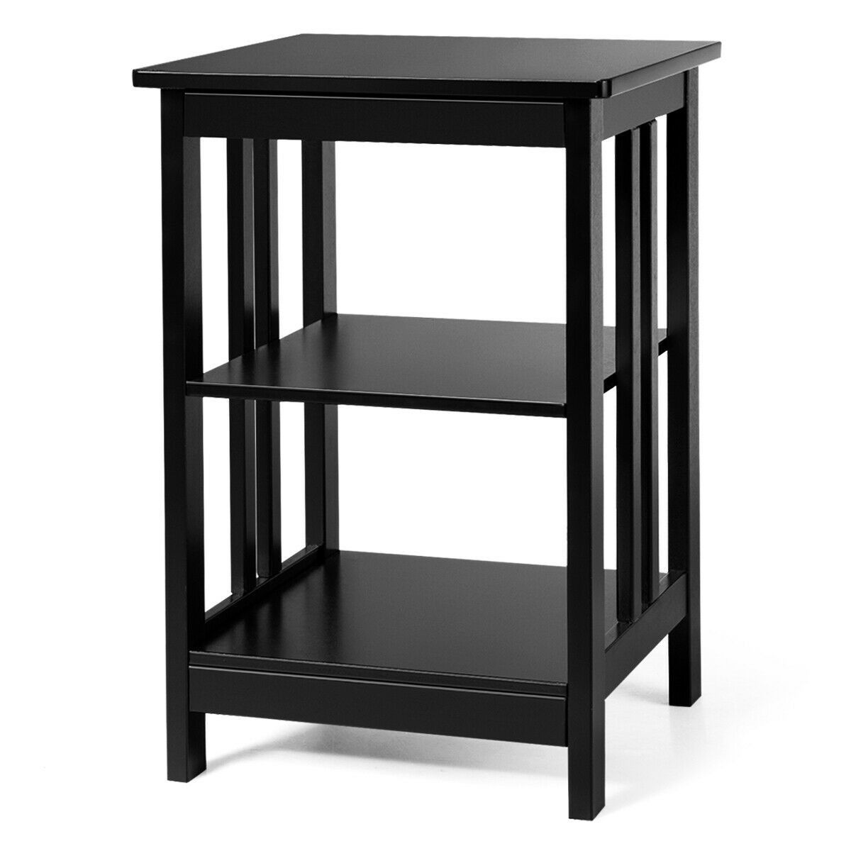 3 Tier Nightstand Side Table With Baffles And Corners Sofa End