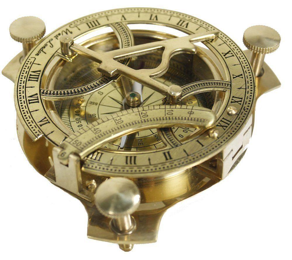 Nautical Brass Sundial Compass Hand-Made West London Marine Working Compass