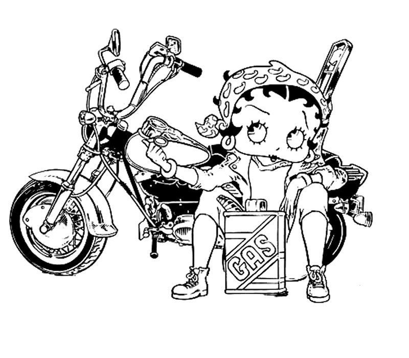 Betty Boop On The Gas Station Coloring Pages Betty Boop On The