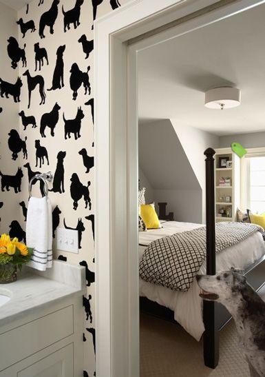 Dog wallpaper!! This would be cute in a closet! Or maybe on a wall in the laundry room or wherever your dog's stuff is :)