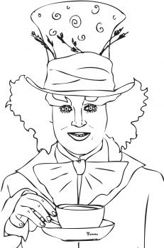 Mad Hatter Tea Party Coloring Page Coloring Pages Mad Hatter Drawing Alice In Wonderland Paintings