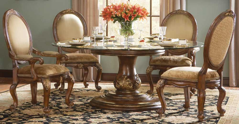 Ordinaire HO 698 75 201 Hooker Beladora Round Pedestal Glass Top Dining Table $2659.80