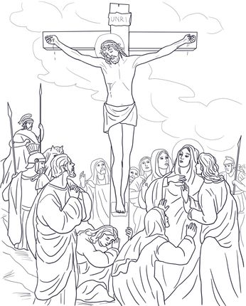 Twelfth Station Jesus Dies On The Cross Coloring Page Cross