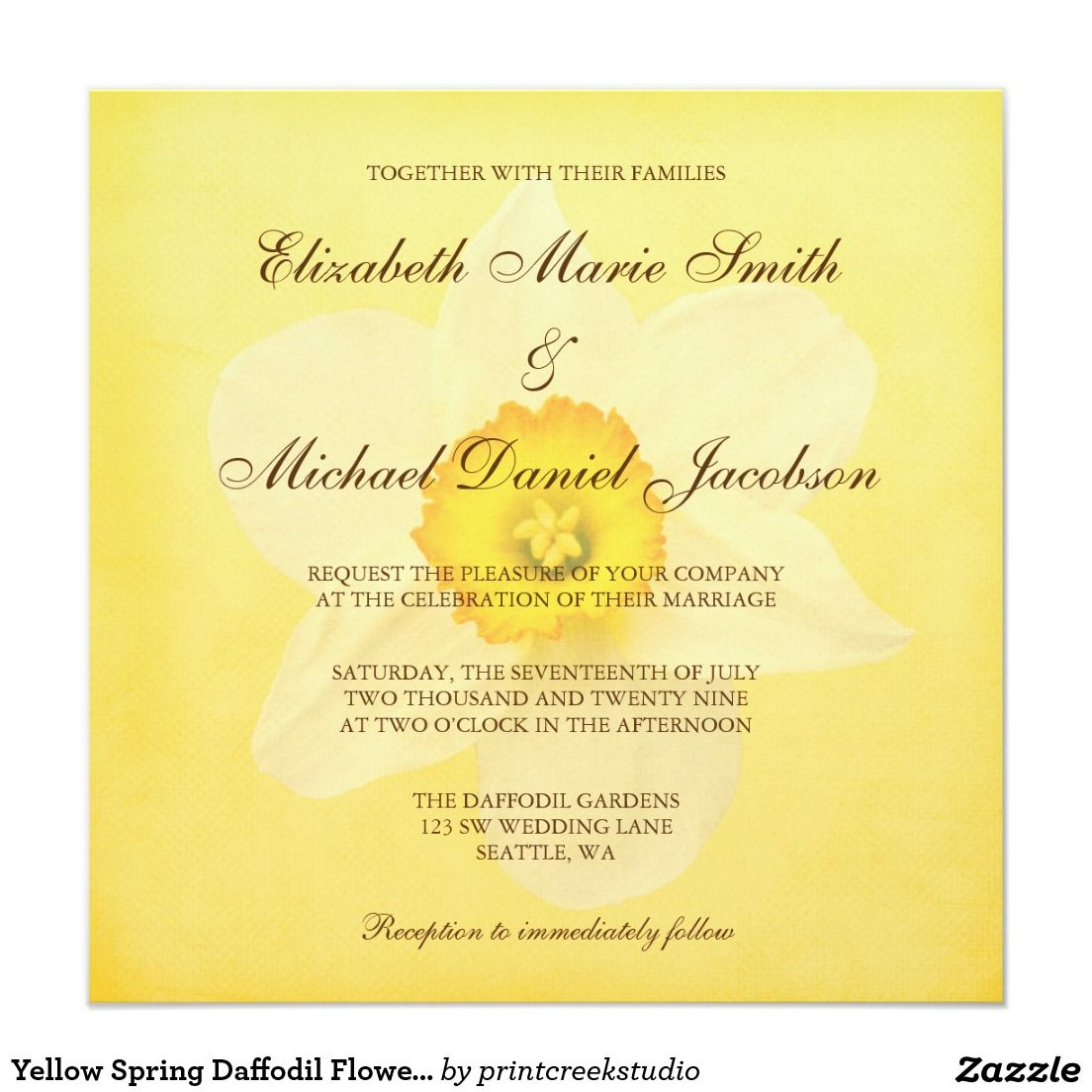 Yellow Spring Daffodil Flower Wedding Invitation