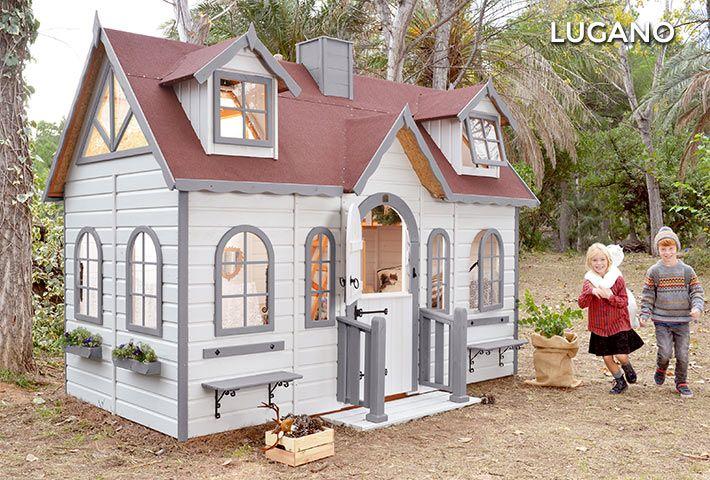 kinderspielhaus aus holz f r den au enbereich lugano playhouse pinterest haus spielhaus. Black Bedroom Furniture Sets. Home Design Ideas