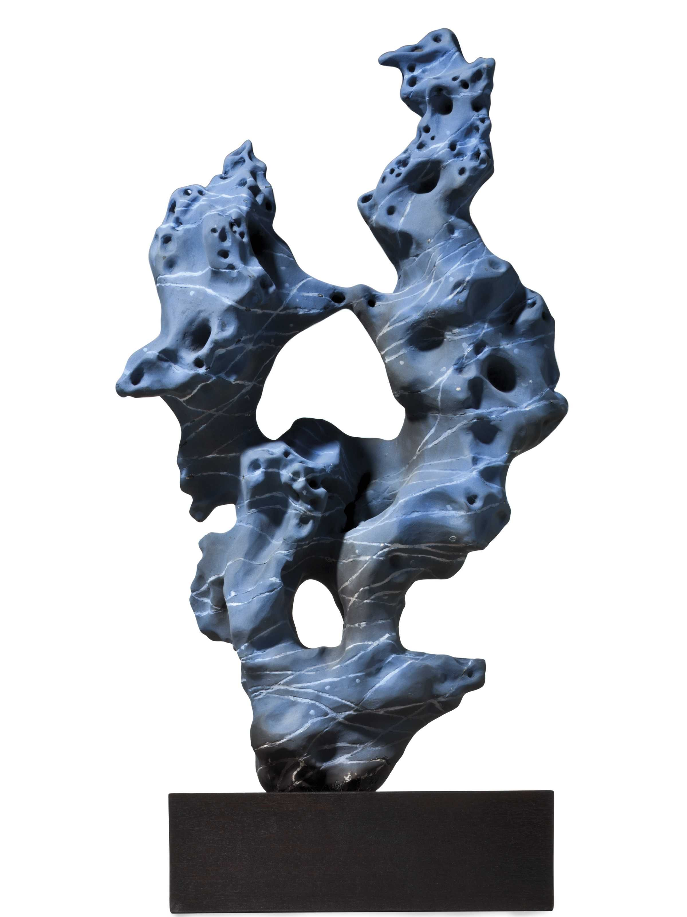 Zhao Meng (B. 1967) Blue Pseudo Rock signed and carved 'MENG' in Pinyin; signed in Chinese; dated '06/08' (bottom) 27 x 15 ½ x 6 ½ in. Executed in 2010.