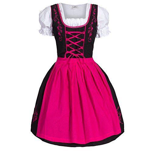 #Dirndl #3 #tlg.Trachtenkleid #Kleid, #Bluse, #Schürze, #Gr. #34 #schwarz #pink Dirndl 3 tlg.Trachtenkleid Kleid, Bluse, Schürze, Gr. 34 schwarz pink, , Dirndl Set 3-teilg Bongossi_Trade Trachtenkleid, Bluse und Schürze, Reißverschluss verdeckt am Rücken, Farben: schwarz blau, schwarz pink, schwarz violett, schwarz grün, Dirndl,