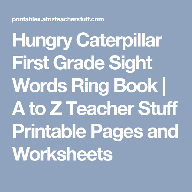 Hungry Caterpillar First Grade Sight Words Ring Book | A to Z ...