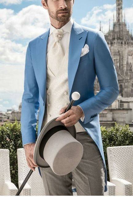Italian Morning Style Gentleman Suit Blue Tailcoat 3 Pieces Mens ...