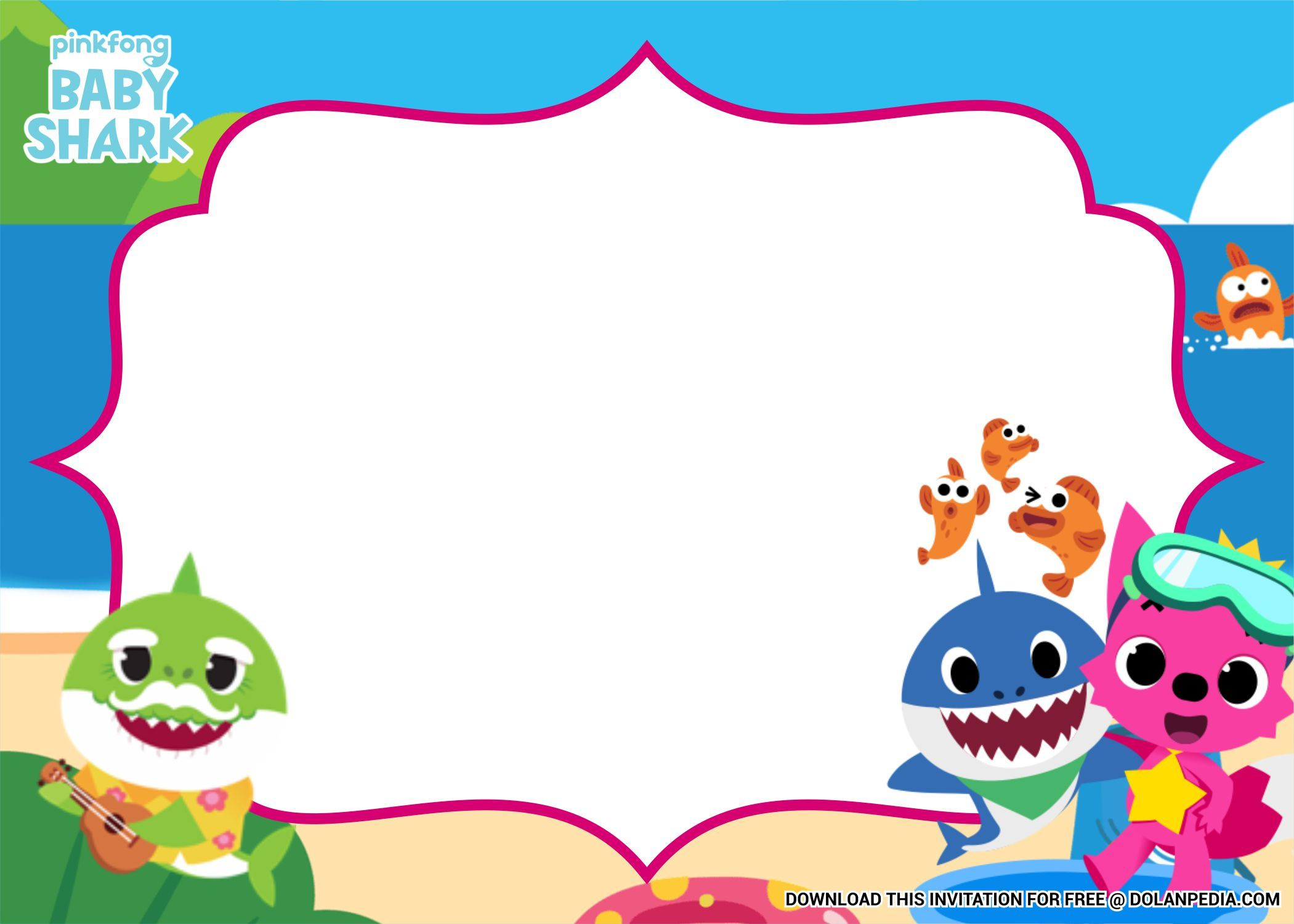 (FREE Printable) - Pinkfong Baby Shark Birthday Invitation ...