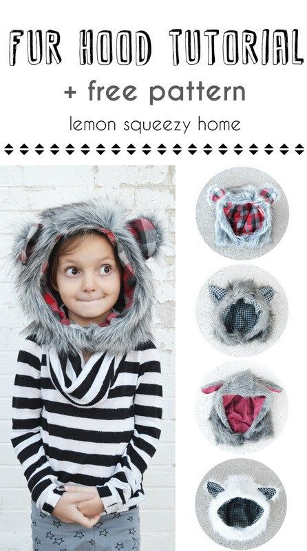 Faux Fur Hood Tutorial + Free Pattern in 6 Sizes!   Sewing   Costura ...