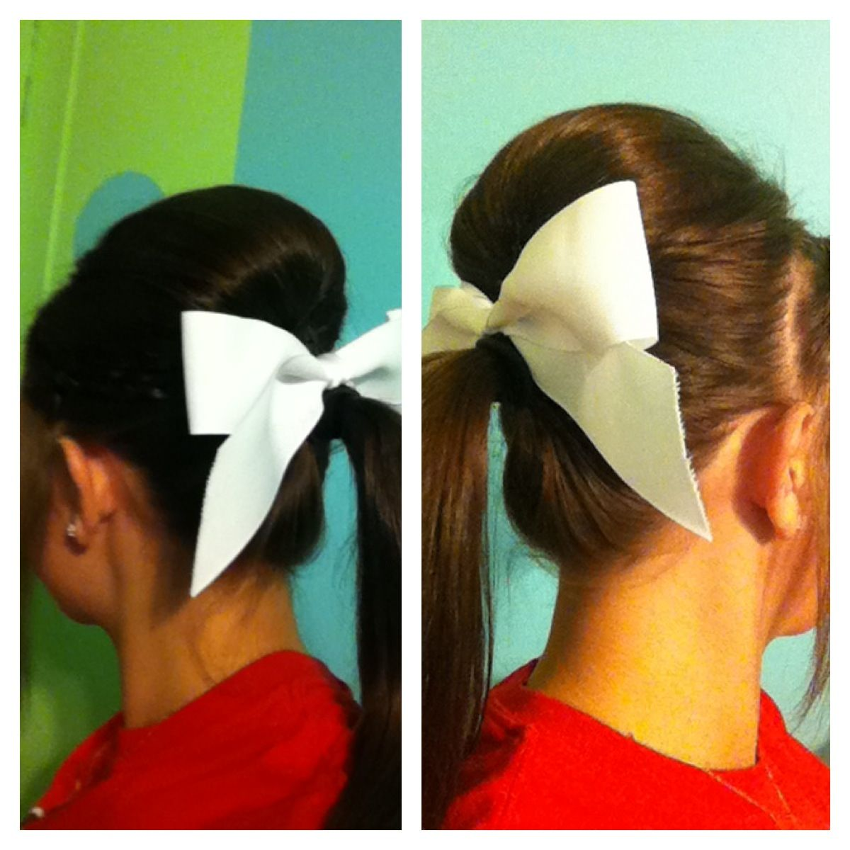 cheerleader style bow bump poney
