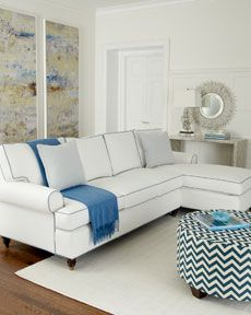 White Sofa With Light Blue Contrast Piping Living Room Decor Inspiration Luxury Sofa Home