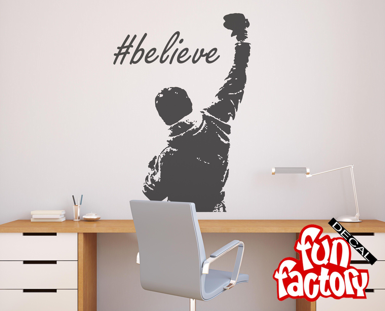 rocky inspirational believe wall decal sticker rocky balboa decor rh pinterest com