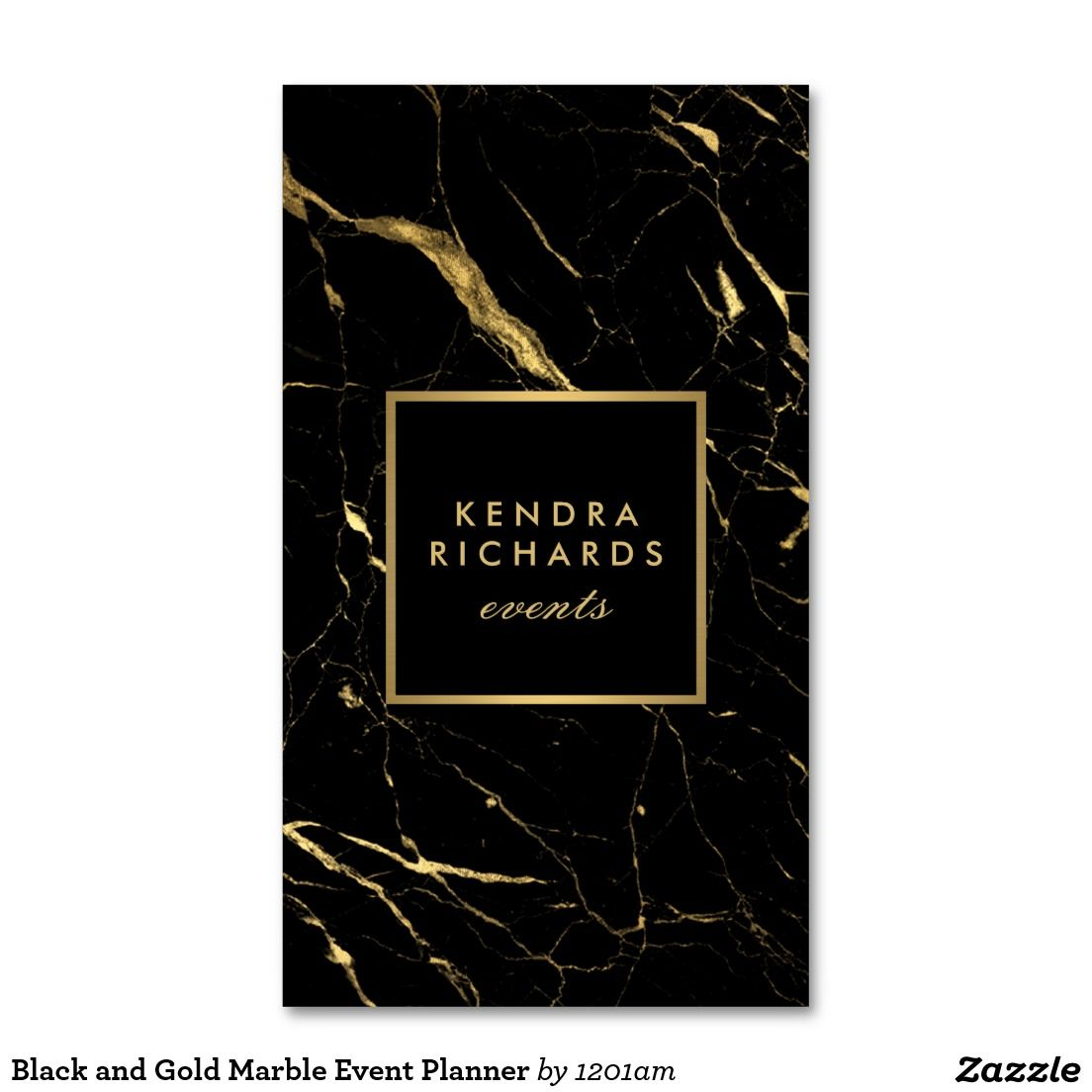 Black And Gold Marble Event Planner Business Card Zazzle