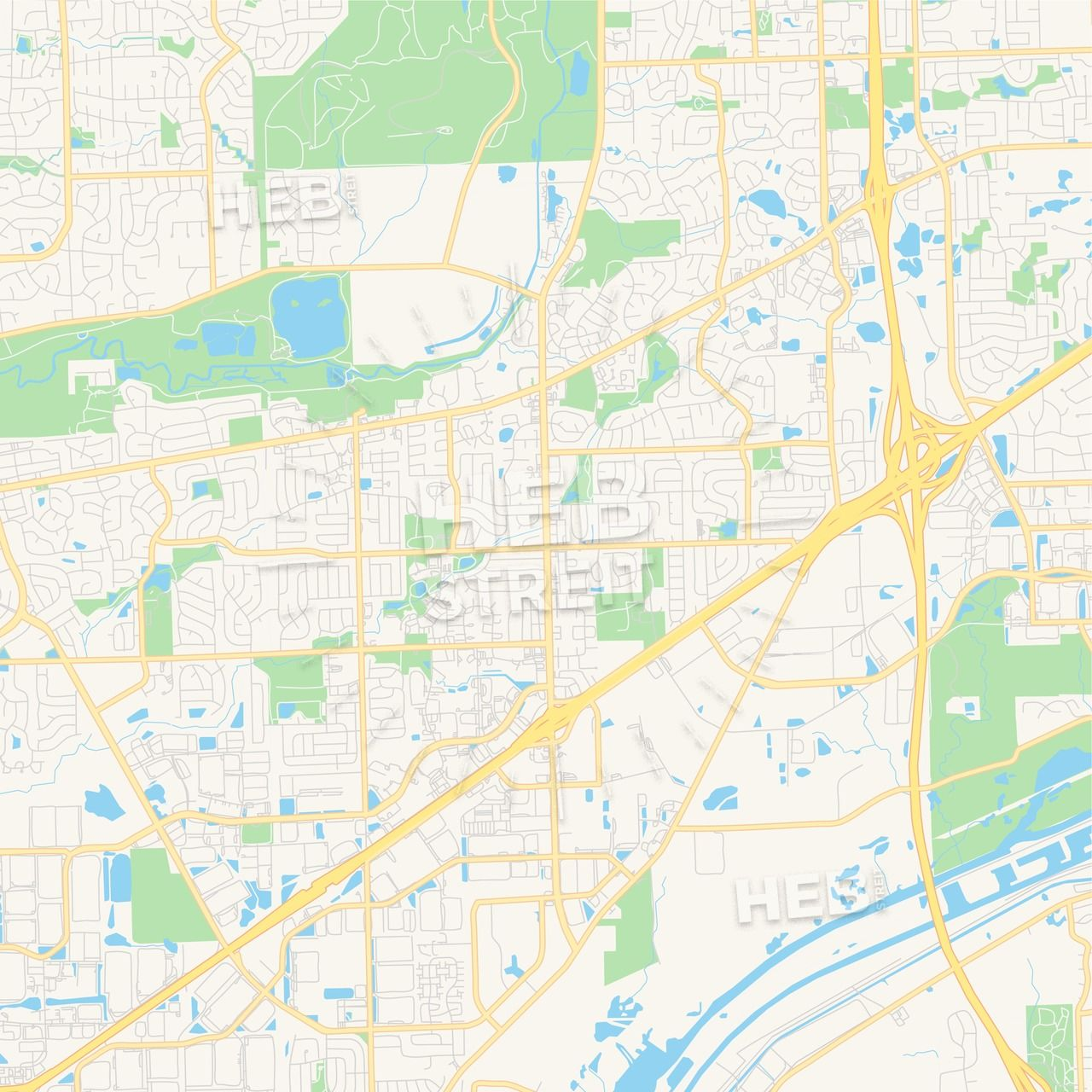 Empty vector map of Bolingbrook, Illinois, USA | Maps Vector