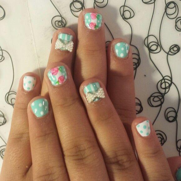 11 Year Old Acrylic Overlay Makes Their Design Last Longer Sistersglitznglam Bow Overlay Floral Acrylic Overlay My Nails Glitz And Glam