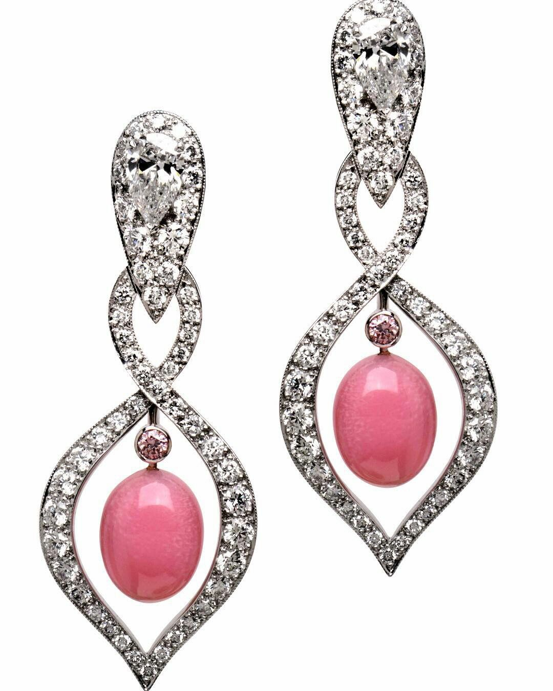 Conch pearl and diamond earrings, by Manalys