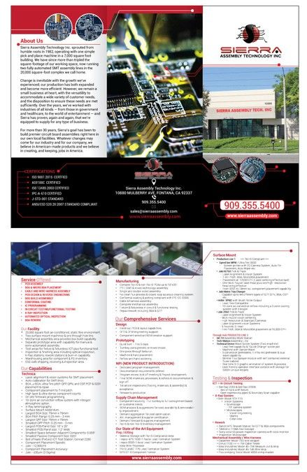 Create a brochure for manufacturing company Sierra Assembly by