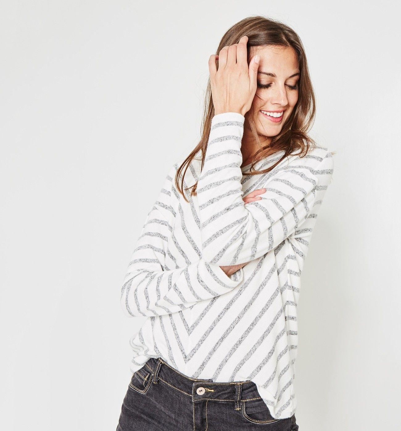 T-shirt rayé Femme - Rayé écru - Tops   T-shirts - Femme - Promod ... 2345f44c706