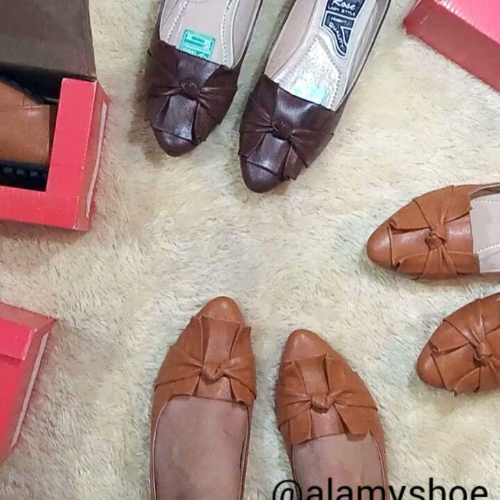 Flat Shoes Wanita Kulit Sintetis Halus Sepatu Cantik Motif Pita
