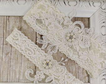 monogrammed garter. Lace Garter Light Ivory Beaded Wedding Garter Set No Slip customizable Wedding garter set Bridal Lingerie