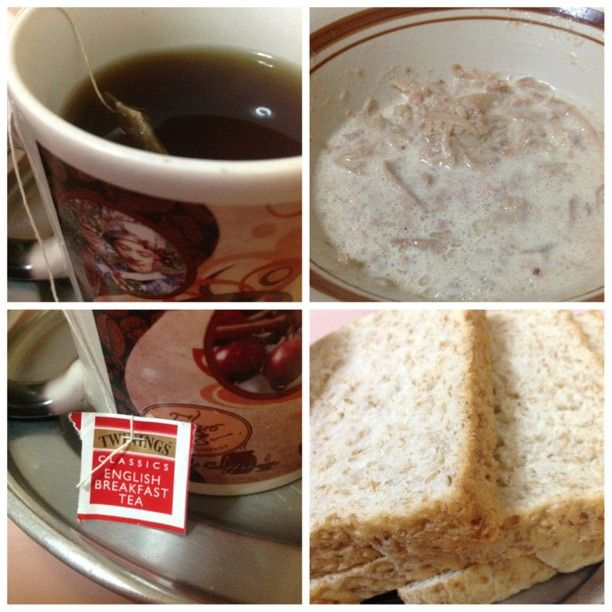 Going Healthy for Breakfast: Twining's English Breakfast Tea, Wheat Bread and Tuna -- Photo by wejeanmarie • Instagram