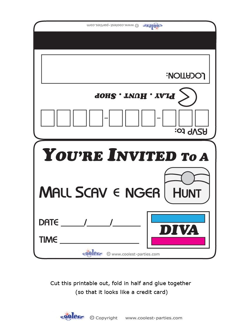 Printable Diva Mall Scavenger Hunt Invitations Coolest Free ...