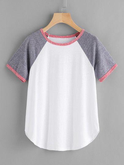 c658a144c4083 Camiseta de manga raglán con ribete en contraste